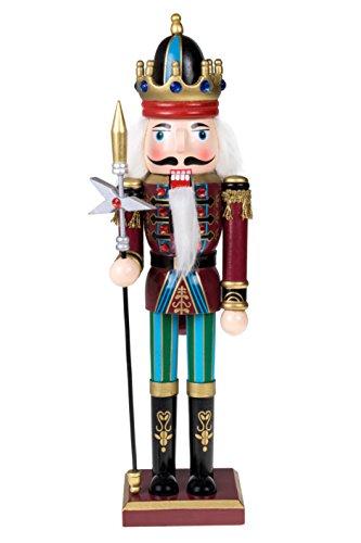 Clever Creations - Traditioneller Nussknacker-König mit langem Zepter - Sammlerstück - Festliche Weihnachtsdeko - 100% Holz - kastanienbraune und Blaue Uniform - 30,5 cm