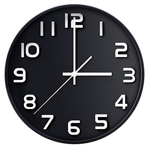 coslife Wanduhr 3D-12-Zoll-Non-Ticking Silent Quarz dekorative Uhren, leicht zu lesen, Home/Küche/Büro/Schuluhr (Schwarz