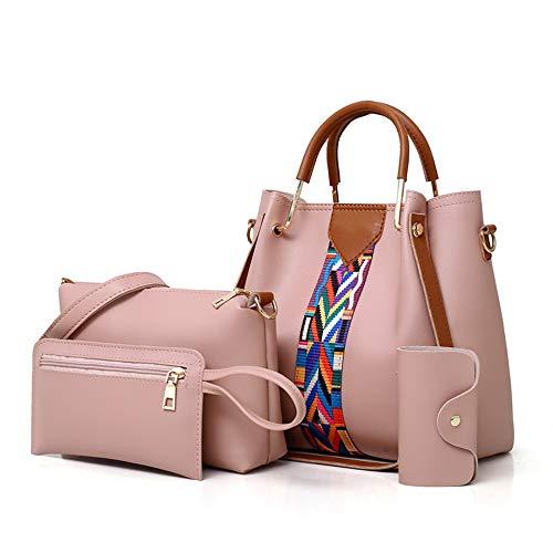 AlwaySky Damen Handtaschen Set 4 in 1 weiche PU Leder Top Griff Tasche, Einkaufstasche, Umhängetaschen Umhängetasche Geldbörse Set (Pink)