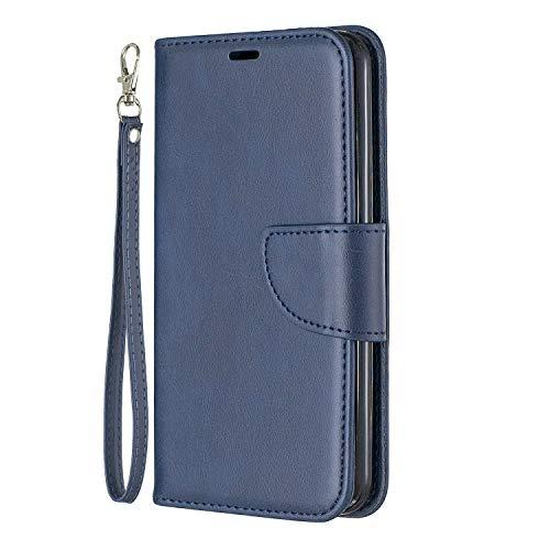 Lomogo LG K9 Hülle Leder, Schutzhülle Brieftasche mit Kartenfach Klappbar Magnetverschluss Stoßfest Kratzfest Handyhülle Case für LG K9 2018 - LOBFE150449 Blau