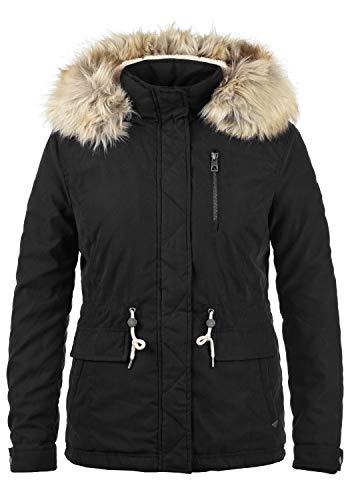 VERO MODA Fura Damen Winter Jacke Parka Winterjacke gefüttert mit Teddyfutter und Kunst-Fellkapuze, Größe:L, Farbe:Black