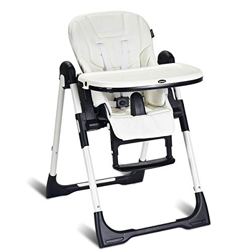 INFANS High Chair for Babies & Toddlers, Foldable Highchair with Multiple Adjustable Backrest, Footrest and Seat Height, Removable Tray, Detachable PU Leather Cushion, Built-in Rear Wheels (White)