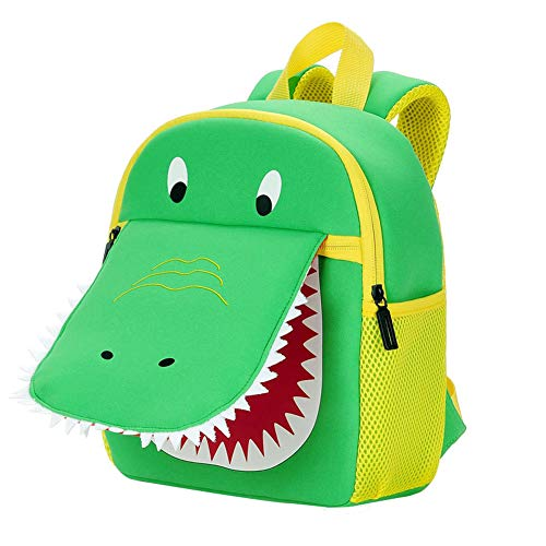 Namgiy - Mochila Infantil 3D Hippo, Peso Ligero, Impermeable, Mochila Escolar para bebé, Preescolar Vert Crocodile 23 * 10 * 27 cm