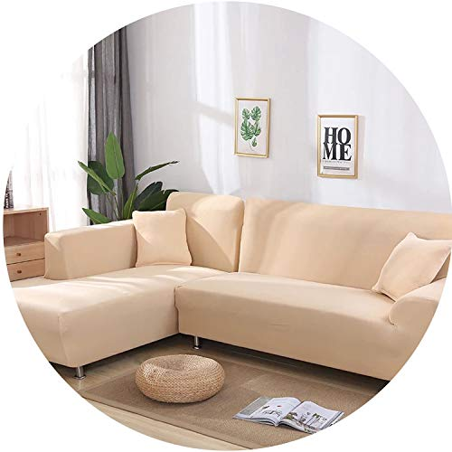 smile-bi 2 pcs Covers for L Shape Sofa Universal Stretch Fabric Solid Color Corner Couch Elastic Anti-ash Decor Resistant Sofa Slipcover,2,1seater and 1seater