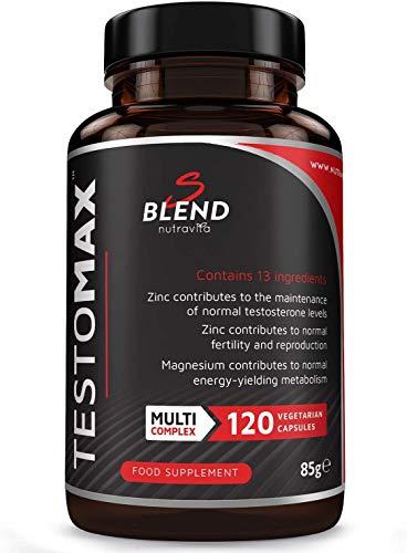 TestoMax - Potente Manutenzione del Testosterone – 13 ingredienti Attivi e Vitamine tra cui Zinco, Maca, Fieno Greco, Ginseng e Magnesio – 120 Capsule Vegetariane – Prodotto da Nutravita