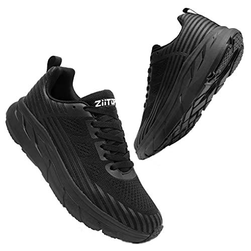 scarpe da ginnastica uomo running Scarpe da Ginnastica Uomo Scarpa Running da Strada Donna Scarpe per Correre Corsa Respirabile Sportive Fitness Casual Interior all'Aperto Running Sneakers Nero 43 EU