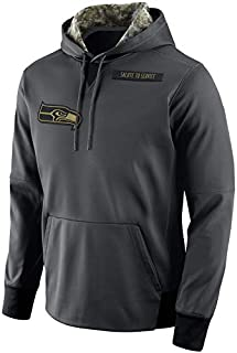 Dunbrooke Apparel Men's Seattle Seahawks Salute to Service Sideline Therma Pullover Hoodie