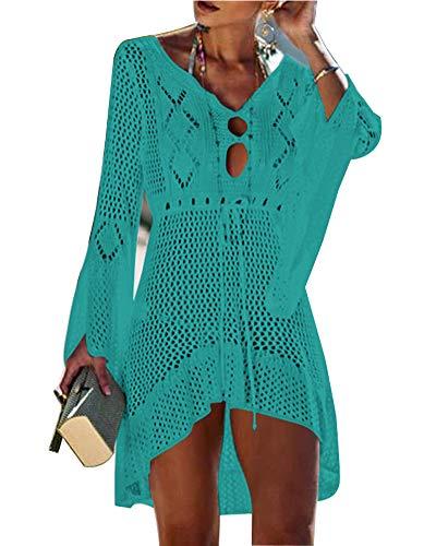 Walant Damen Bluse Ausgestelltes Ärmel Sommer Badeanzug Sexy Knit Openwork Bikini Beach Bademode Cover Up Kurz Kleid