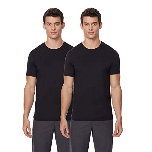 Mens 2pack Short Sleeve Crew Neck Wicking Tee, Black, Medium