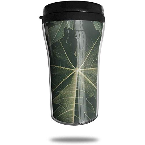 Papaya Leaf Travel Koffie Mok Gedrukt Draagbare Vacuüm Beker, Geïsoleerde Thee Cup Water Fles Tumblers voor Drinken