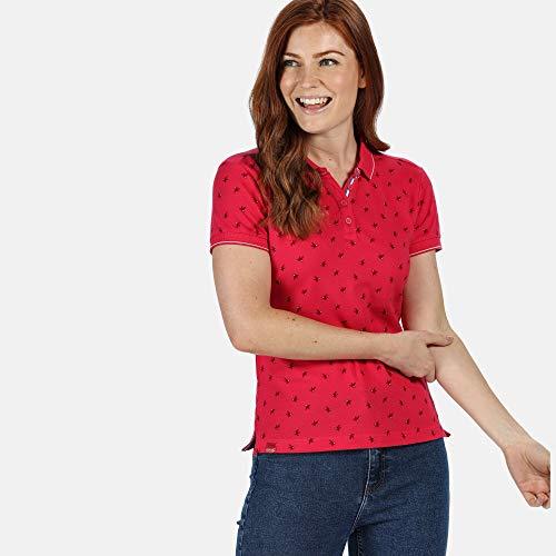 Regatta Polo en Coton FAINE II boutonné au Cou avec imprimé sur l'ensemble T-Shirts Vests Femme, Virtual Pink Bird, FR : L (Taille Fabricant : 16)