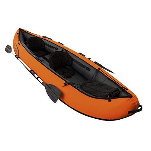 HARUONE Aufblasbarer Kajak-Zweier 2-Person, Heavy-Duty-PVC Tandem-Kajak-Kanu-Raft Drift Erwachsene, Fischerboot Mit Luftpumpe Und Aluminium Oars