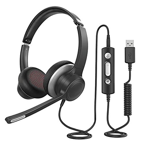 PC Headset mit Mikrofon, USB, 3,5 mm Headset mit Noise Cancelling & knackiger Stereosound, Headset Handy für Skype Zoom MS Team Webinar Calling Call Center, Superleicht & Ultra Komfort