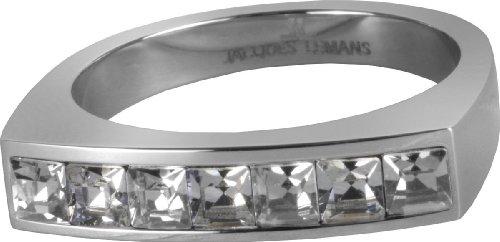 JACQUES LEMANS Ring besetzt mit Funkelnde Swarovski Kristallen massiv Edelstahl Ringgröße 60 S-R46B60