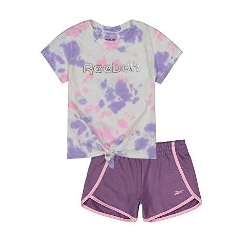 Reebok Mädchen CONJUNTO Big TIE DYE Camiseta Y Pantalon Corto Trainingsanzug, Traube, 6 Jahre