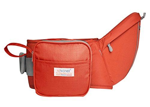 Ainomi Portabebé Asiento de Cadera Cintura con Bolsillos Cremallera Multifunciones Seguridad para 3-36 Meses Bebés colorido - Color Naranja