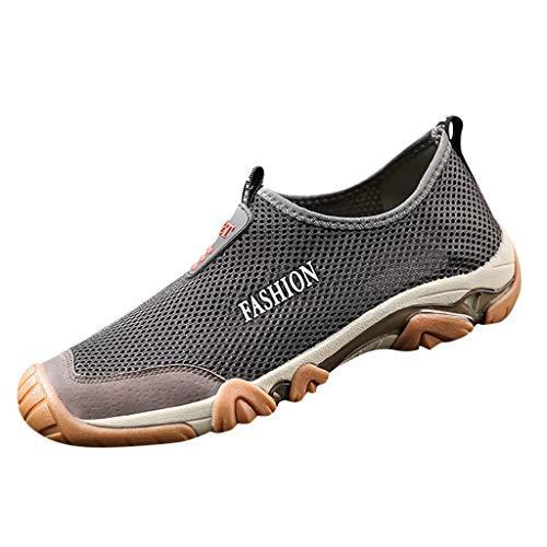 AIni Herren Schuhe,2019 Neuer Heißer Beiläufiges Mode Atmungsaktive Mesh Schuhe rutschfeste Wanderschuhe Upstream Schuhe Partyschuhe Freizeitschuhe(44,Grau)