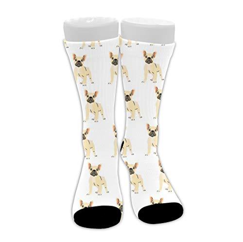 Men's Women Crew Dress Socks, Athletic Running Socks, Compression Sock for Training Yoga Soccer, Winter Warm Socks Half Tactical Socks (French Bulldog Lovely sock)