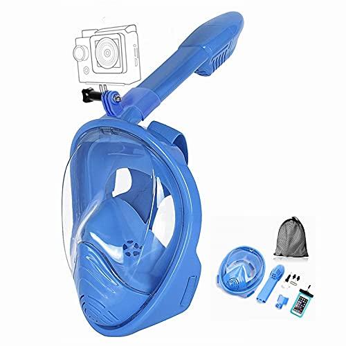 Churidy Máscara de buceo de cara completa con campo de visión de 180 grados y soporte de cámara, antivaho, antifugas, máscara de esnórquel para niños