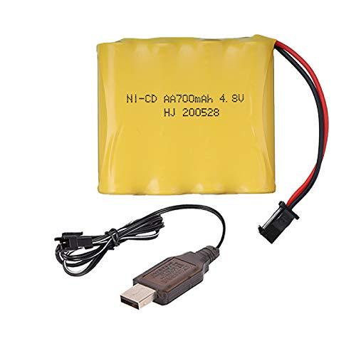 MeGgyc 4.8V Batería AA 700MAH Para Rc juguetes Coches Robots Barcos Piezas 4*aa batería 4.8 v 700 mah batería 1pcsUSB