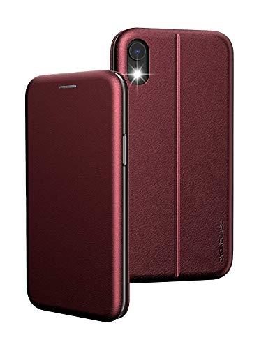 BYONDCASE Funda con tapa para iPhone XR, color rojo, protección completa de 360 grados, ultrafina, compatible con el iPhone XR