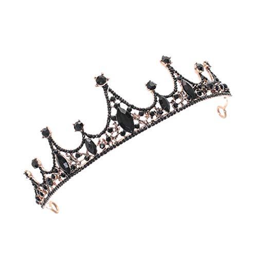 Lurrose Corona de Reina Barroca Corona de Pelo de Diamantes de Imitación...