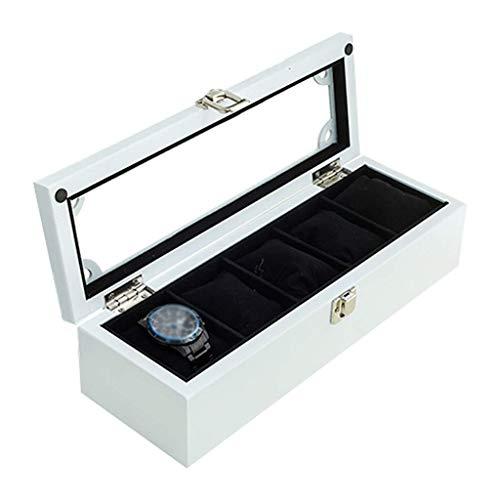 HAILIZI Caja de colección de relojes Madera, reloj Caja de lujo Relojes de joyería de almacenamiento Pantalla Bandeja pulsera de la caja con 5 eliminación de almacenamiento almohadas, la mancuerna Org