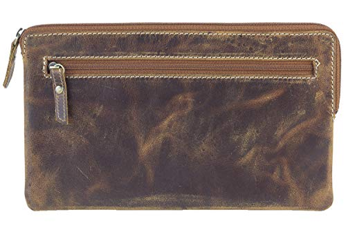 LEAS Banktasche & Geldtasche im Vintage-Style LEAS in Echt-Leder, Dark Cognac - Special-Edition