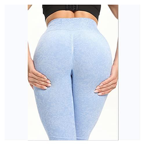 Augus Jacob Leggings sin Fisuras Deporte Mujeres Aptitud Medias Pantalones de Yoga Pantalones Gimnasio Desgaste Spinning Jogging Entrenamiento (Color : Light Blue, Size : L)