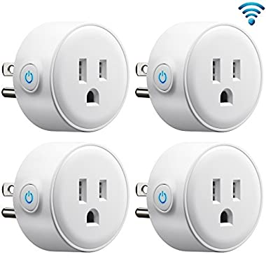 GMYLE 4 Pack Wifi Smart Plug Mini Outlet Power Control Socket, Remote Control Your Electric Devices from Anywhere, No Hub Required, Work with Amazon Alexa Echo Dot & Google Home, White