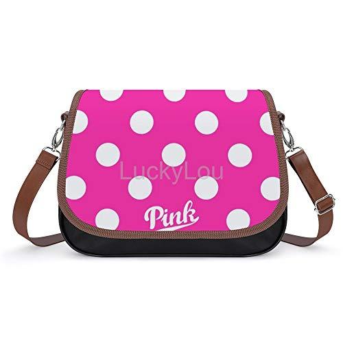 New Vs Pink Polka Dot Fashion Leather Crossbody Handbag Satchel Tote Bag Shoulder Bag For Women Girls