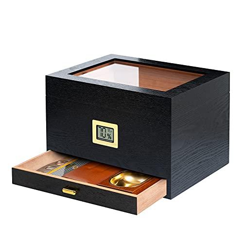Epress Handmade Cigar Humidor, Spanish Cedar Wood with Natural Grain, Glass-Top Box Set with Hygrometer, Humidifier Gel, Holds 50-80 Cigars