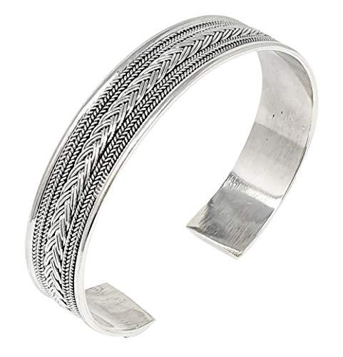 TreasureBay Iconic Herren Massives 925 Sterling Silber Armreif Armband Silber Armband für Männer 29.8g