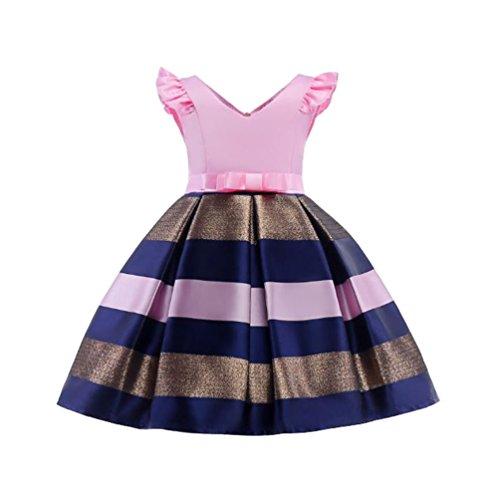 YuanDian Mädchen Kinder Ärmellos Taille Binden Prinzessin Kleid Mode Elegante Festliche Partykleider Cocktailkleid Festtagskleider Festkleider Für 3-10 Jahre Alt Rosa 140