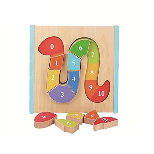 Forma de serpiente rompecabezas de madera rompecabezas Aprender y Reconocimiento Puzzle de juguetes educativos para niños en edad preescolar Juguetes