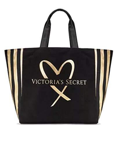 Victoria's Secret VS Tote Bag Black and Gold Striped