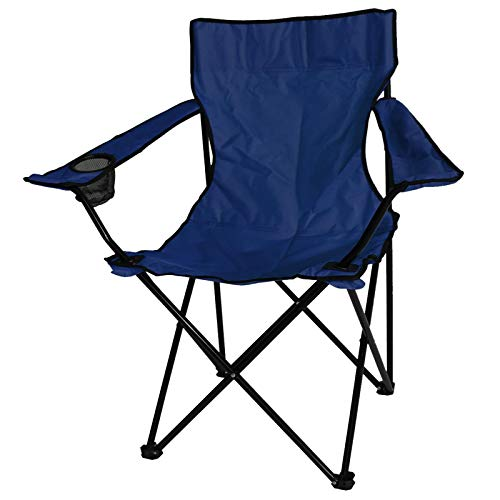 ASAB Folding Camping Chair Fishing Seat With Armrest And Cup Holder Portable Outdoor Beach Garden Furniture - Blue