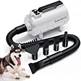 LAN TUN Dog Dryer, High Velocity Dryer for Dogs, Cats & More, Stepless Adjustable Speed Dog Hair Force Dryer, Dog Blower Grooming Dryer with Heater (White)