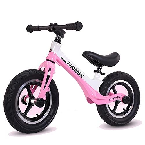 GASLIKE Bicicleta de Equilibrio para niños y niñas de 2 a 6 años, Bicicleta de Equilibrio de 12 Pulgadas, Altura Recomendada 85-125 cm, sillín Ajustable, Carga máxima 90 kg,Rosado