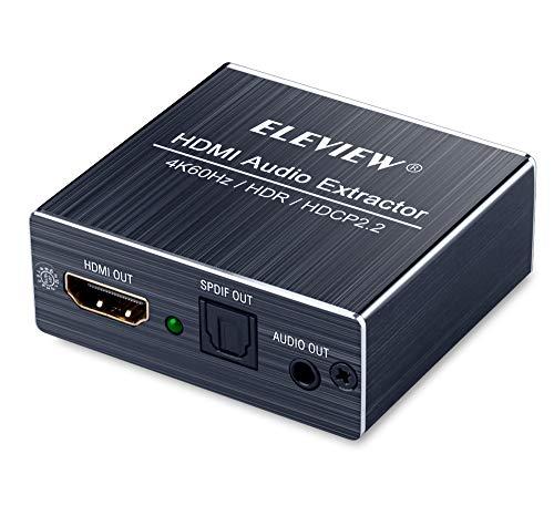ELEVIEW 4K60Hz・HDR・HDCP2.2対応 HDMI 音声分離器 (音声出力:光デジタル・3.5mmステレオミニ)|HDMI2.0 デジタルオーディ分離器 HDMIアダプター PS4pro・Fire TVなどに適用 EHD-806N