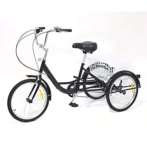 OUKANING 24 pulgadas x rueda 8 velocidades bicicleta adulto bicicleta rike Cruiser Bike, acero de alto carbono Cargo Trike Cruiser Ciclismo color negro con cesta de la compra (20 pulgadas)