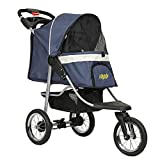 VIAGDO Luxury Dog Stroller Jogger for Small Medium Dogs & Cats, No-Zip Pet Stroller Foldable 3-Wheel Cats Stroller with Suspension System/Link Brake/One-Hand Fold, Max. Loading 55 LBS (Navy Blue)