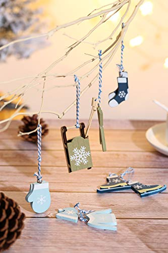 Aitsite 6 Piezas Adornos árbol Navidad, Colgante Navideño de Madera, Adorno De Madera De arbol De Navidad Ornamento Decoración Fiesta Regalo -Azul