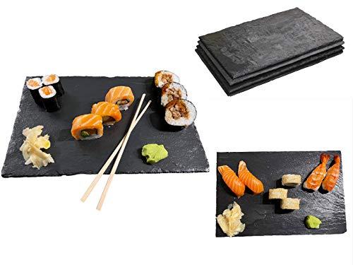 Splittprofi Dekorative Servierplatten aus Schiefer 12 teilig | 30x20cm schwarz aus Naturschiefer geölt inkl 6 Paar Bambus Stäbchen