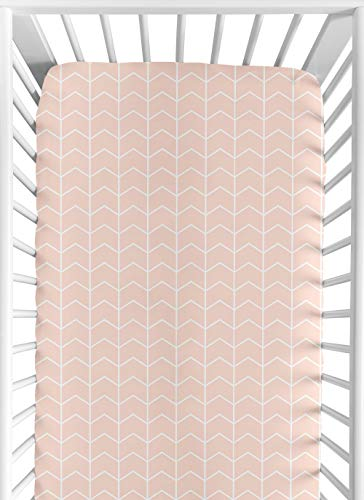 Sweet Jojo Designs Blush Pink and White Chevron Arrow Baby or Toddler Fitted Crib Sheet for Watercolor Elephant Safari Collection