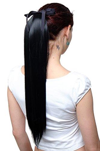 WIG ME UP ® - C9429-1 Haarteil Zopf Pferdeschwanz Haarverlängerung Schwarz glatt fallend Befestigung mit Bändchen & Klammer ca. 60cm