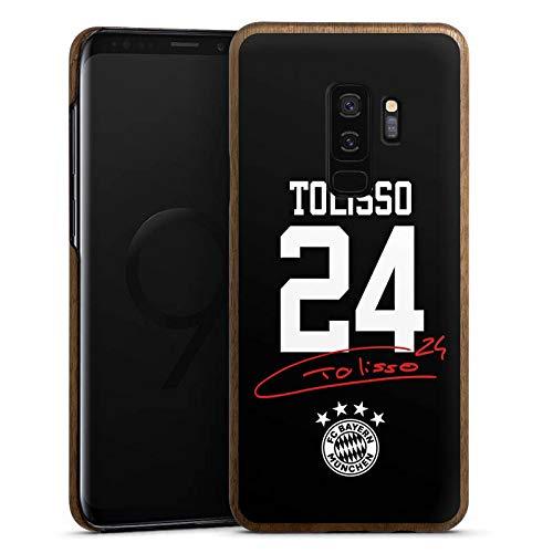 DeinDesign Holz Hülle kompatibel mit Samsung Galaxy S9 Plus Duos Holz Schutzhülle Echtholz Handyhülle Tolisso #24 FC Bayern München Trikot