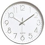 Tebery Reloj de Pared de 30 cm sin marcar, Moderno, silencioso, Esfera Grande Plateada