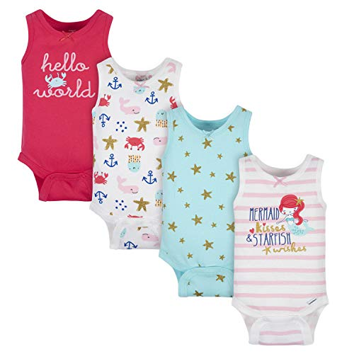 Gerber Baby Girls' 4-Pack Sleeveless Onesies Bodysuit, Pink Sea Creatures, 6-9 Months