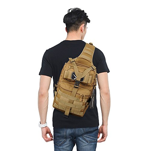 Tactical Gear Molle Multifunctional Sling Shoulder Backpack Daypack Bag for Camping Hiking (Tan 2)